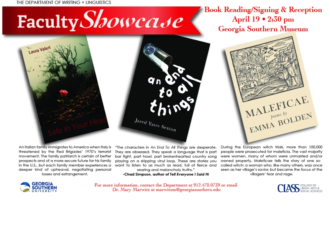 Faculty Showcase at the GSU Museum: Emma Bolden, Laura Valeri, Jared Yates Sexton