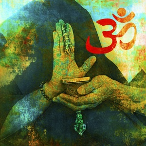 Om sign with Buddhist hands.